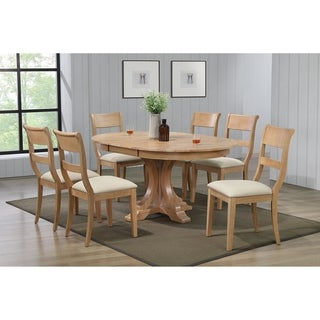 """Iconic Furniture Co 45""""x45""""x63"""" Deco Hampton Beech Upholstered 7-Piece Dining Set"""