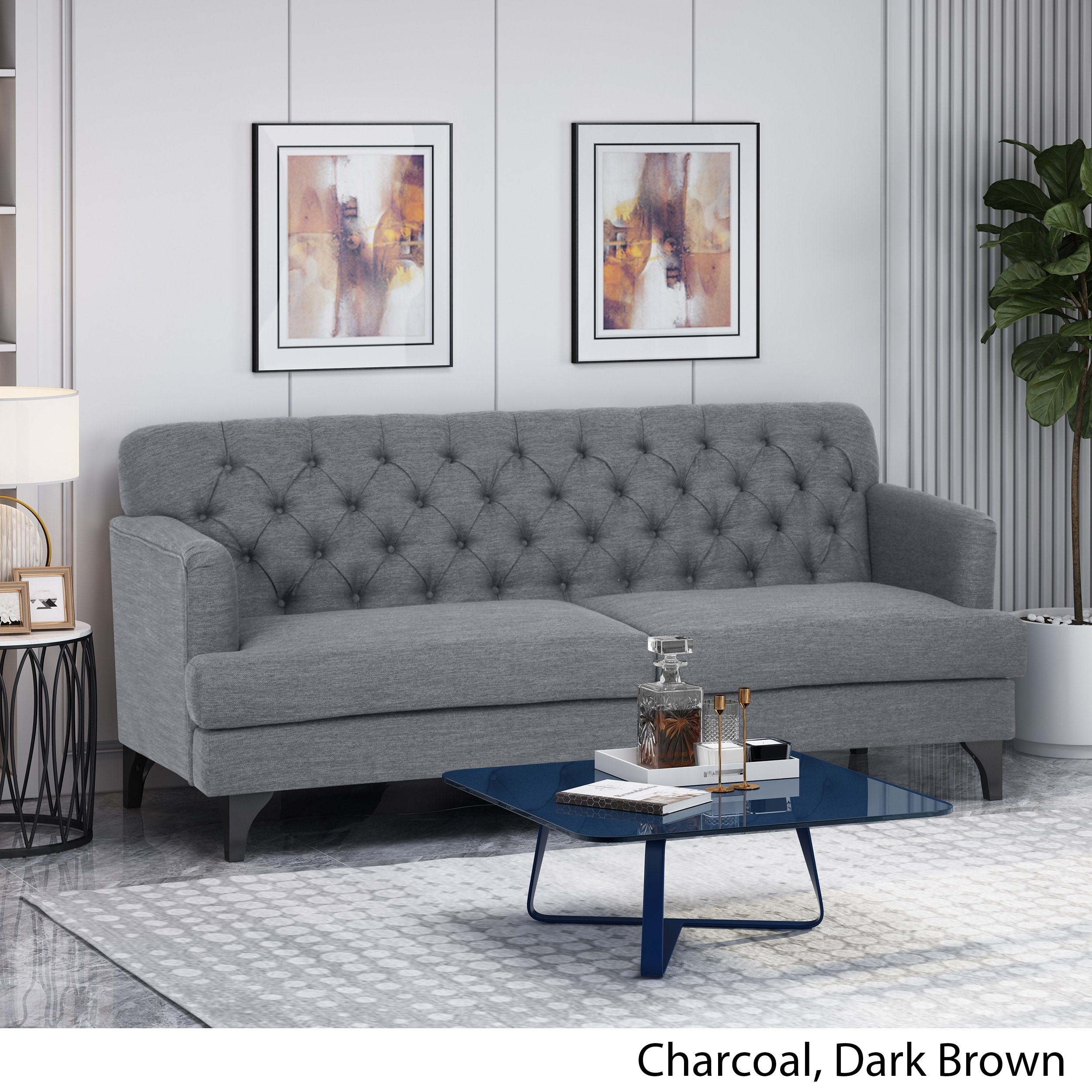 """Postwick Contemporary Tufted Fabric 3 Seater Sofa By Christopher Knight Home - 78.00"""" W X 35.00"""" L X 34.50"""" H - On Sale - Overstock - 30396319"""
