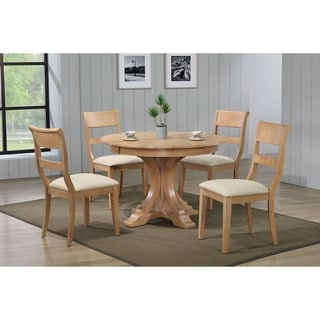 """Iconic Furniture Co 45""""x45""""x63"""" Deco Hampton Beech Upholstered 5-Piece Dining Set"""