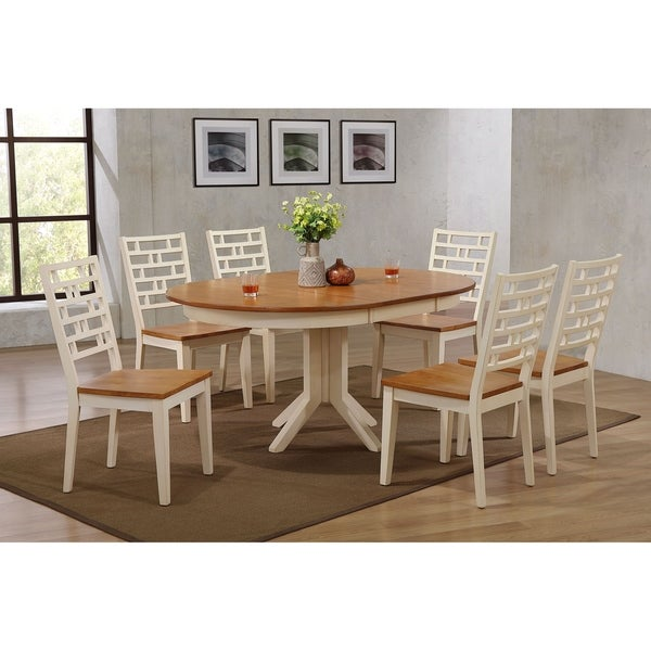 """Iconic Furniture Co 45""""x45""""x63"""" Contemporary Table In Antiqued Caramel Biscotti Designer Back Chairs (7-Piece Dining Set)"""
