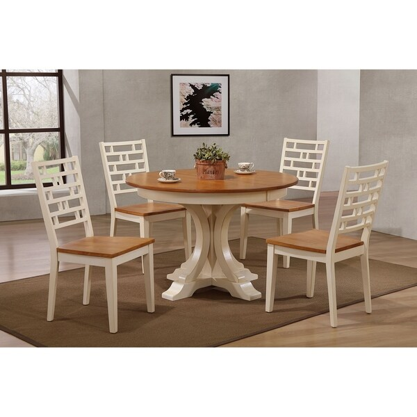 "Iconic Furniture Co 45""x45""x63"" Deco Table In Antiqued Caramel Biscotti With Designer Back Chairs (5-Piece Dining Set)"