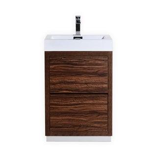 "Bliss 24"" Walnut Free Standing Modern Bathroom Vanity"