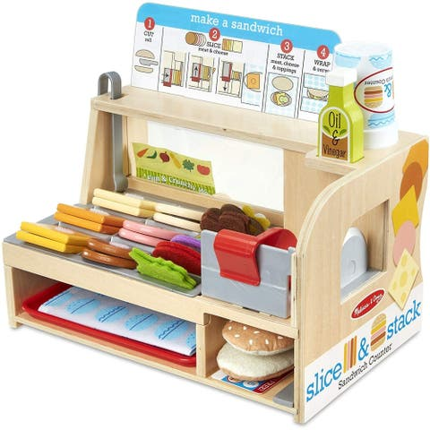 Melissa & Doug Wooden Slice & Stack Sandwich Counter with Deli Slicer  56Piece Pretend Play Foodpiece