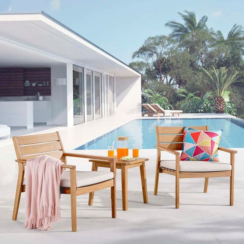 Breton Outdoor Patio Ash Wood Armchair Set with End Table