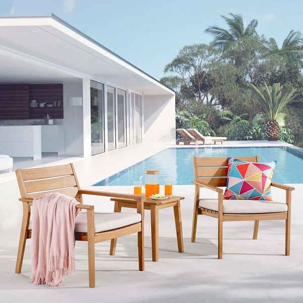 Breton Outdoor Patio Ash Wood Armchair Set with End Table. Opens flyout.