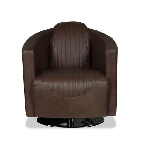Pan Am Chocolate Microfiber Swivel Accent Chair