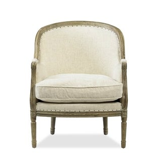 Savannah Hard Carved Linen Accent Chair