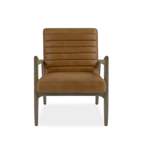 Denmark Caramel Top Grain Leather Accent Chair