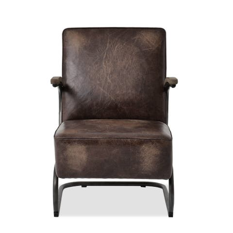Brazilian Rich Chocolate Brown Full Grain Leather Accent Chair