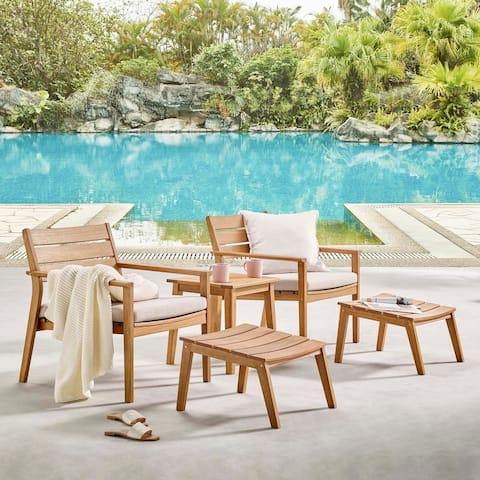 Breton 5 Piece Outdoor Patio Ash Wood Armchair Set