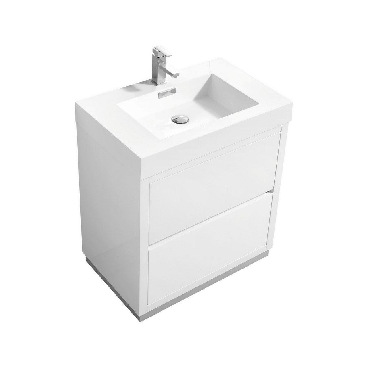 Bliss 30 High Gloss White Free Standing Modern Bathroom Vanity Overstock 30396878