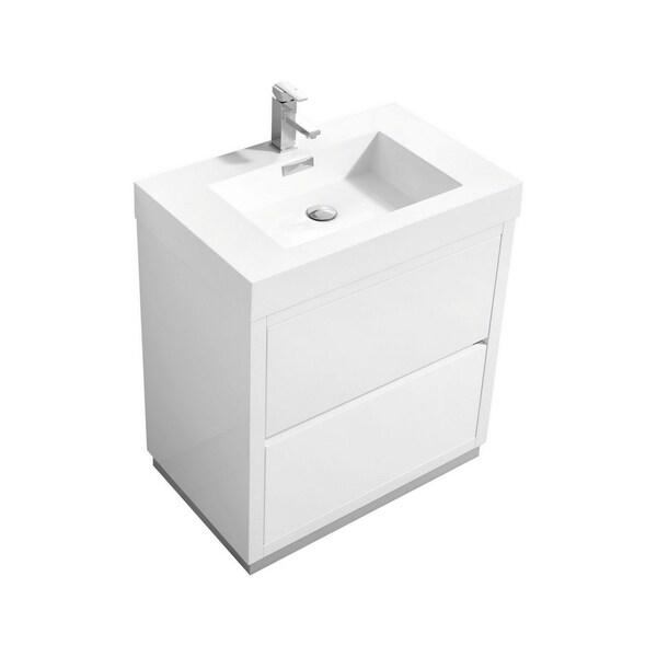 """Bliss 30"""" High Gloss White Free Standing Modern Bathroom Vanity"""