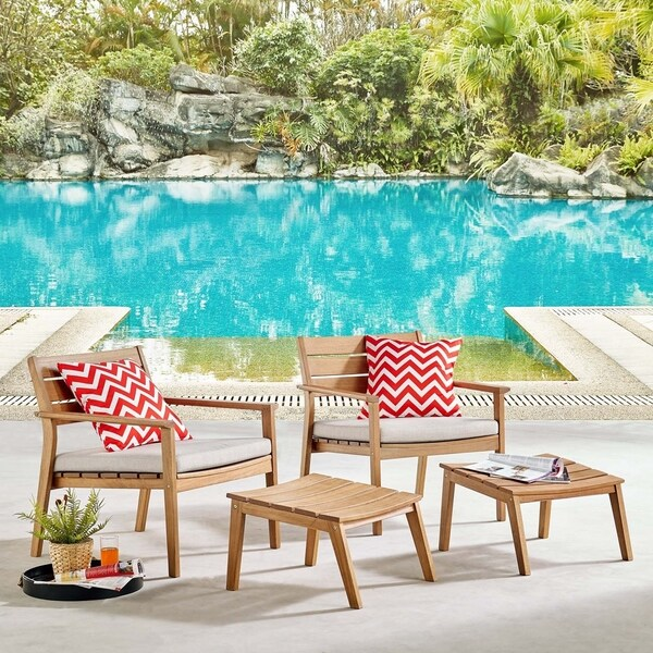 Breton 4 Piece Outdoor Patio Ash Wood Armchair Set. Opens flyout.