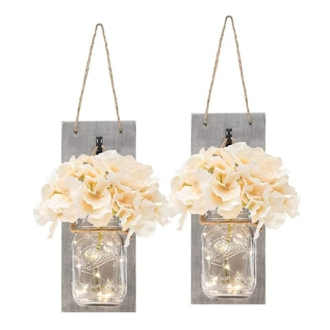Set of Two Lighted Sconces Country Rustic Mason Jar Wall Sconce