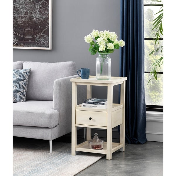 Chairside Table One Drawer Distressed White. Opens flyout.
