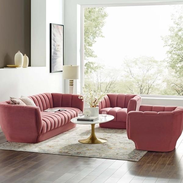 Entertain Vertical Channel Tufted Performance Velvet Sofa and 2 Armchair