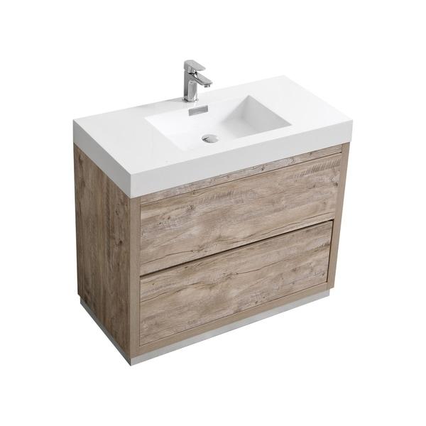 "Bliss 40"" Nature Wood Floor Mount Modern Bathroom Vanity"