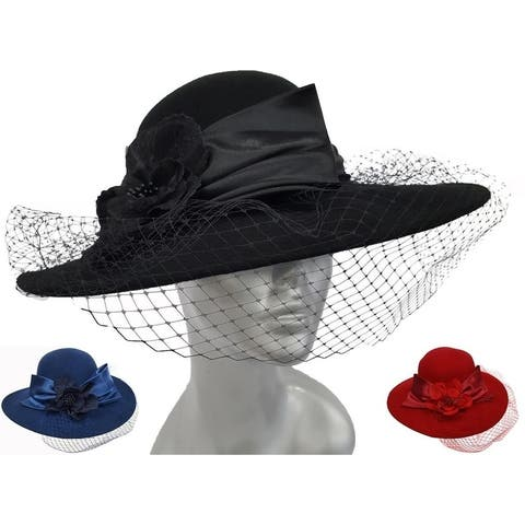 Women's 100 per cent Wool Felt Casual Dress Church Formal Hat