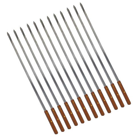BBQ Stainless Steel Skewers with Wooden Handle 23 Inch Long, 1/4 Inch Wide for Shish Kebab Turkish Grills & Koubideh