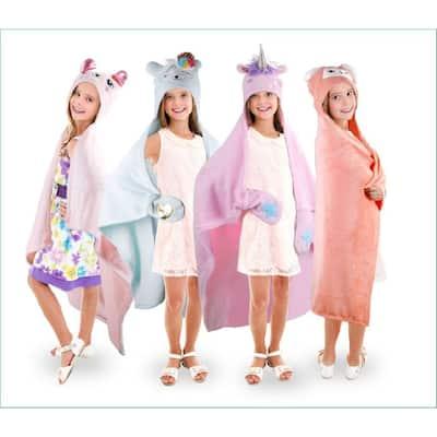 Mari+Mac- Animal Fleece Hooded Throws