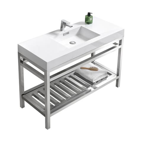 """Cisco 48"""" Stainless Steel Console w/ White Acrylic Sink - Chrome"""