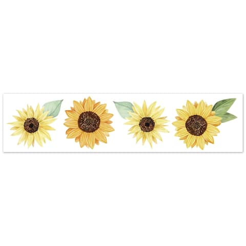 Sweet Jojo Designs Floral Sunflower Collection Wallpaper Wall Border - Yellow, Green and White Boho Farmhouse Watercolor Flower