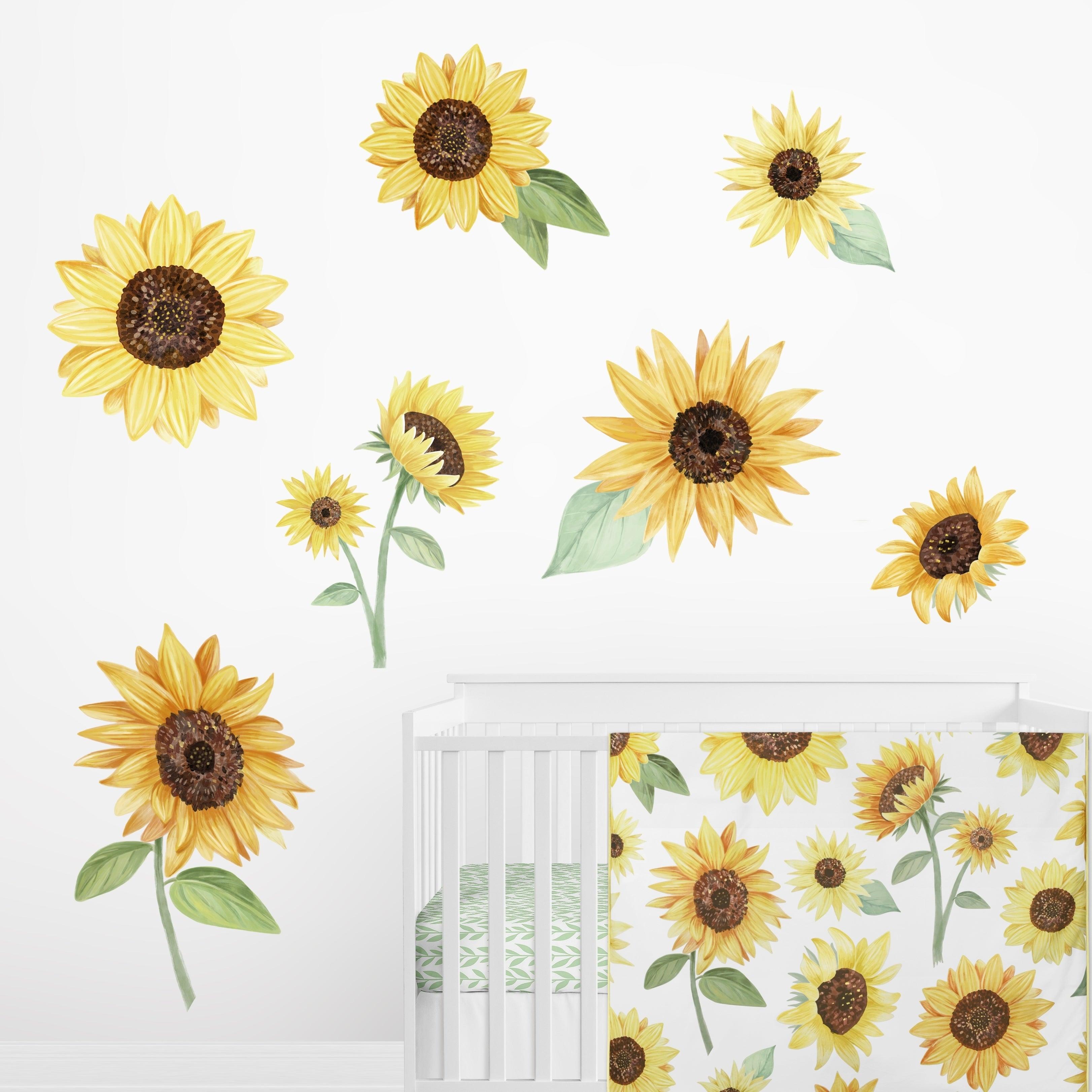 Sweet Jojo Designs Yellow Boho Floral Sunflower Wall Mural Decal Stickers Nursery Decor Set Of 2 Farmhouse Watercolor Flower