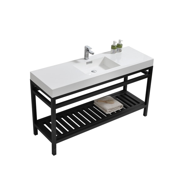 "Cisco 60"" Single Sink Stainless Steel Console w/ White Acrylic Sink - Matte Black"