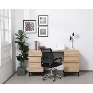 Emory industrial double cabinet desk in mango wood