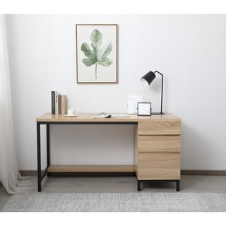 Emory industrial single cabinet desk in mango wood