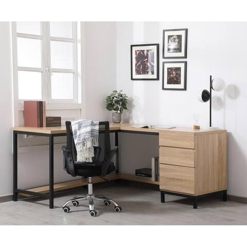 Emory corner industrial desk in mango wood
