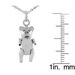Journee Collection  Sterling Silver High Polished Movable Pig Necklace - Thumbnail 2