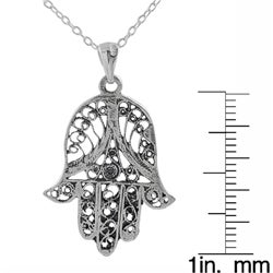 Journee Collection  Sterling Silver Filigree Hand Shape Necklace - Thumbnail 2