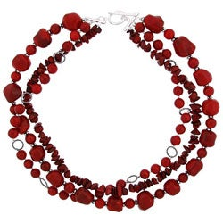 Glitzy Rocks Silver and Coral Graduated 3-row Necklace