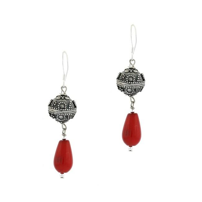 Glitzy Rocks Sterling Silver Genuine Coral Teardrop Earrings