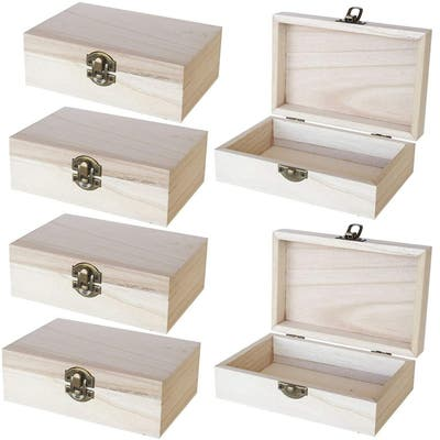 Unfinished Wooden Jewelry Box - 6-Pack Wood Boxes with Locking Clasp