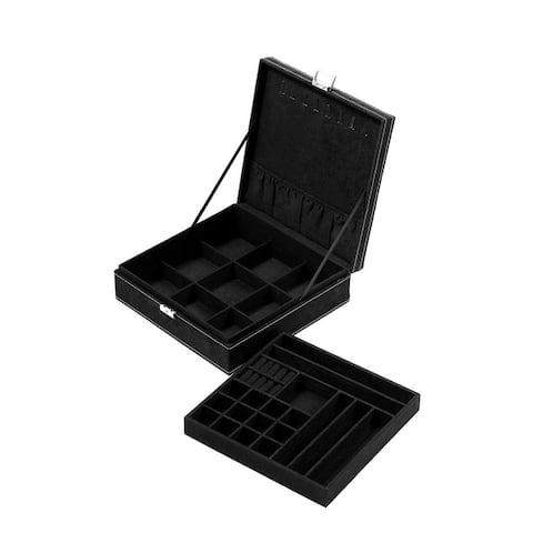 Two Layer Jewelry Box Organizer Display Storage Case with Lock Key