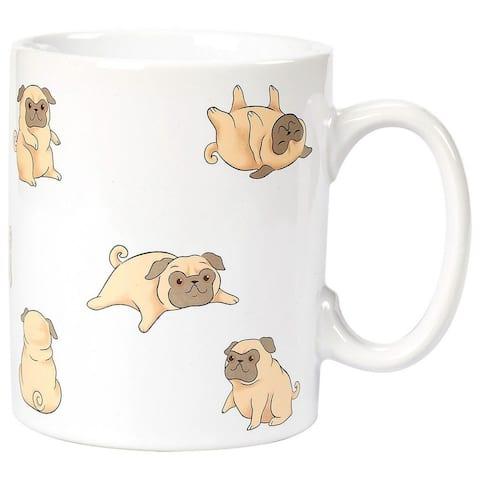 Ceramic Coffee Mug with Handle-Smiley Pug Dog Design, 16 Ounces, one size