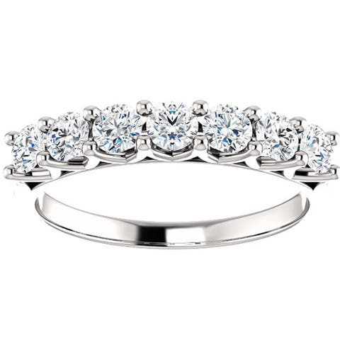 Pompeii3 14k White Gold 3/4 Ct TDW Seven Diamond Eternity Wedding Ring Lab Grown (G-H/VS1-VS2)