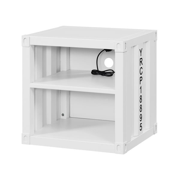 Metal Nightstand with 2 Open Compartment and USB Port, White
