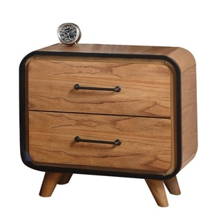 Mid Century Wooden Nightstand with Two Drawers, Brown and Black