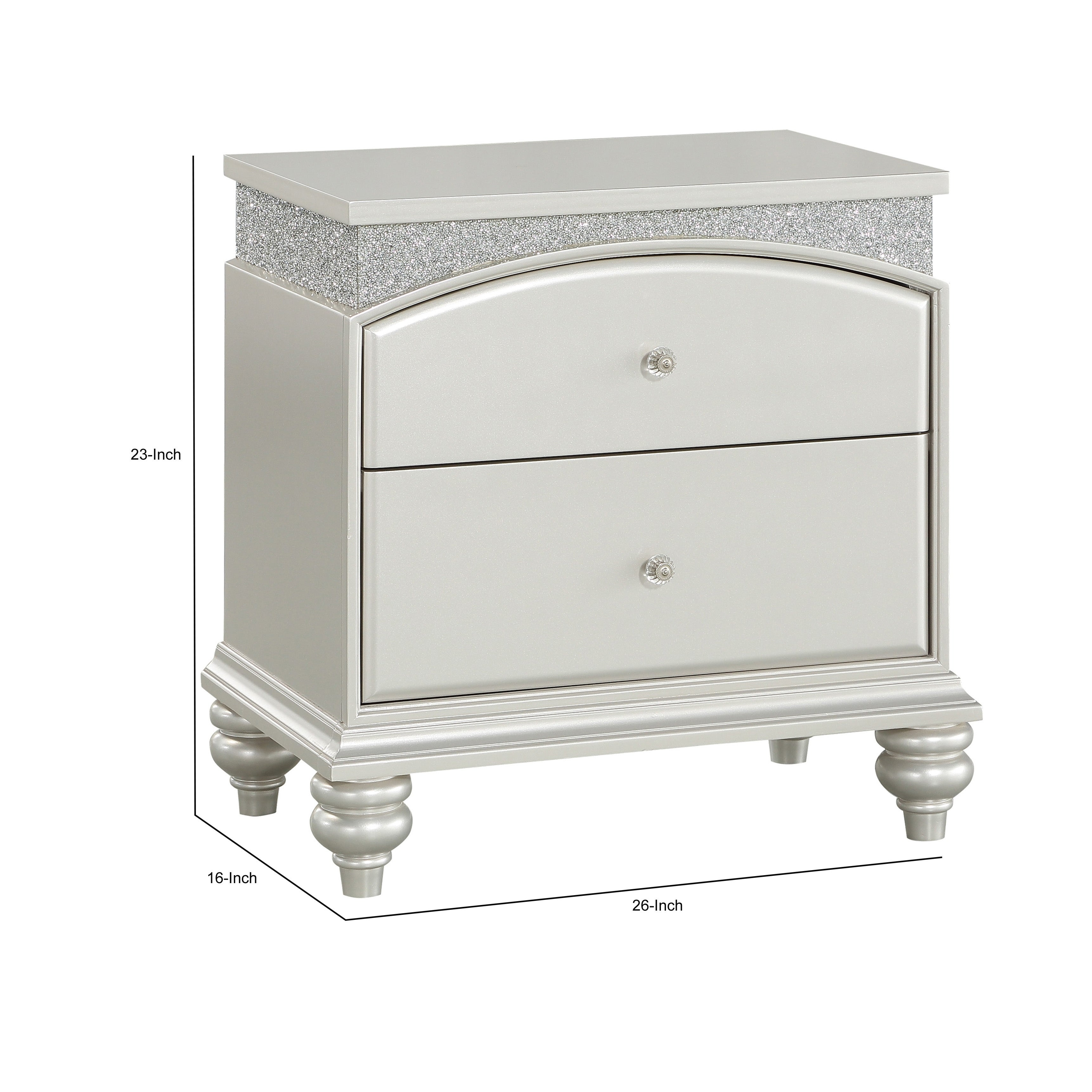 Modern Style 2 Drawer Wooden Nightstand With Rhinestone Inlays Silver