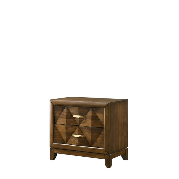 Transitional 2 Drawer Wooden Nightstand with Chamfered Legs, Brown