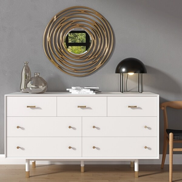 Strick & Bolton Knisley White/ Gold Rubberwood Dresser