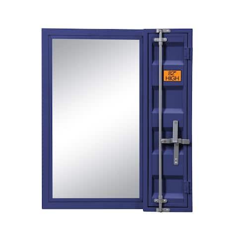 Industrial Style Metal Vanity Mirror with Recessed Door Front, Blue