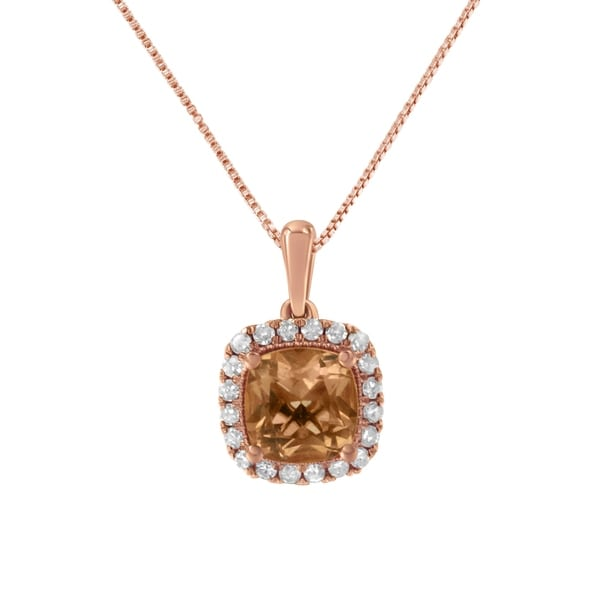 10K Rose Gold 1/4ct Diamond and 8MM Peach Morganite Gemstone Square Pendant(H-I,I1-I2). Opens flyout.
