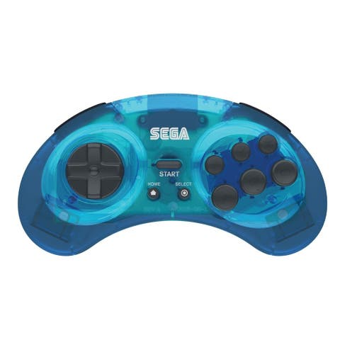 SEGA Genesis Bluetooth Wireless Controller Pad Gamepad For PC Mac Android Switch - Clear Blue