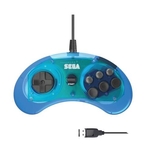 Retro-Bit Official SEGA Genesis Controller 6-Button USB Wired Arcade Pad Gamepad - Blue - Black