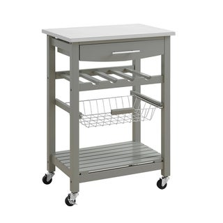 Contemporary Kitchen Island with Stainless Steel Top and Casters, Gray