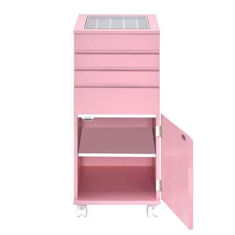 Glass Top Wooden Jewelry Armoire with Storage Compartments, Pink